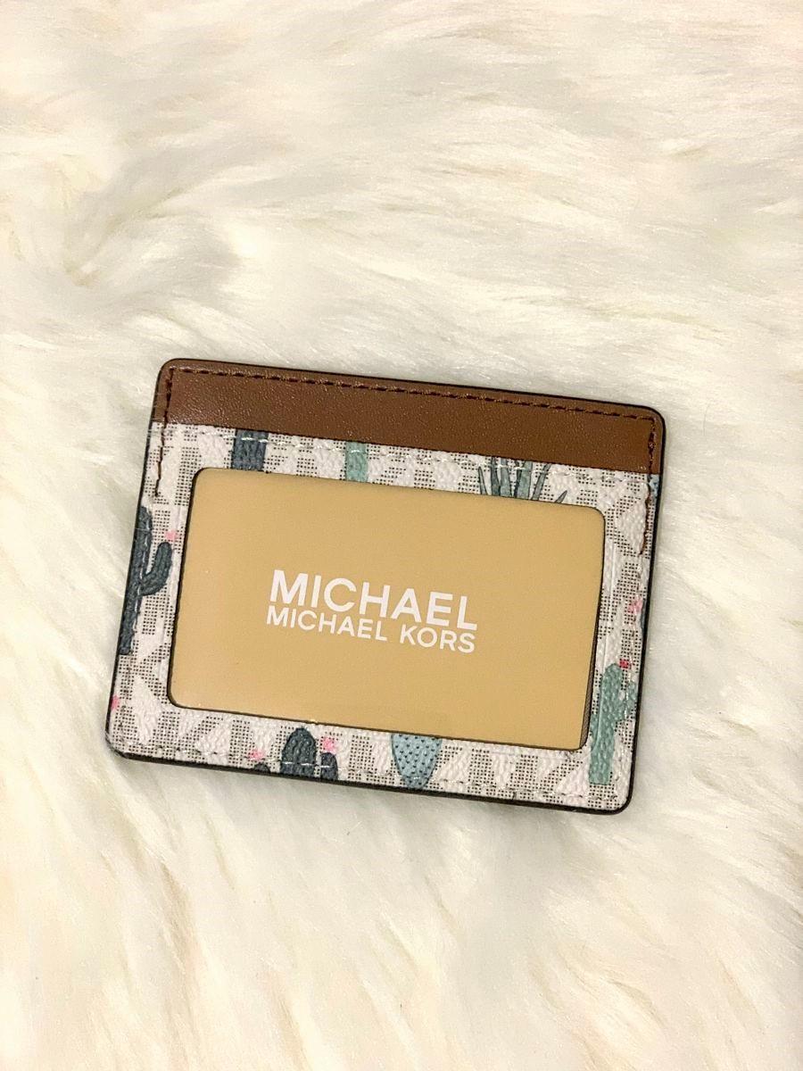 Púzdro na kreditné karty MICHAEL KORS Desert Road Trip Jet Set Travel Large Card Holder Vanilla Multi