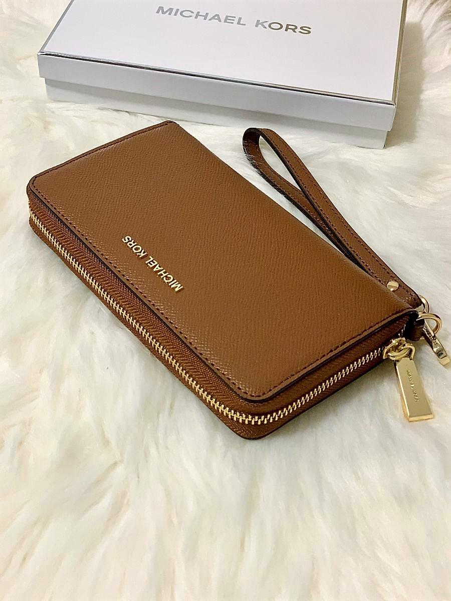 Dámska peňaženka MICHAEL KORS Jet Set Travel Large Coin Multi Funt Phone Case Leather Brown