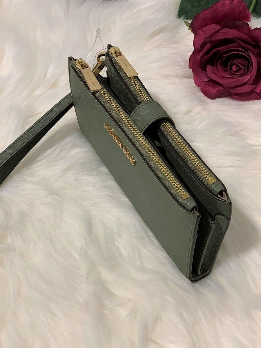 Dámska peňaženka MICHAEL KORS Jet Set Travel Double Zip Wristlet Army Green