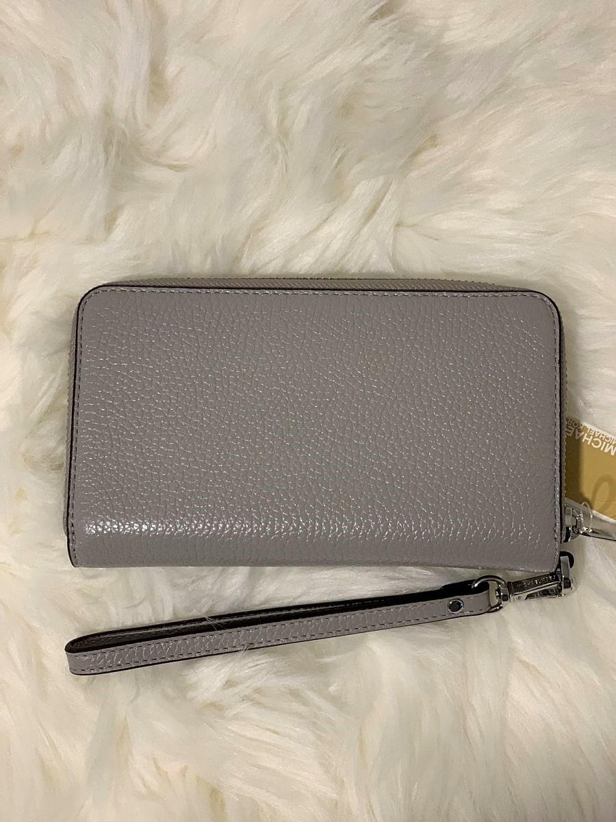 Dámska peňaženka MICHAEL KORS Jet Set Travel Large Flat Multi-functional Phone Case Leather Pearl Grey