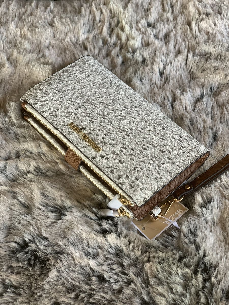 Dámska peňaženka MICHAEL KORS Jet Set Travel Double Zip Wristlet VANILLA