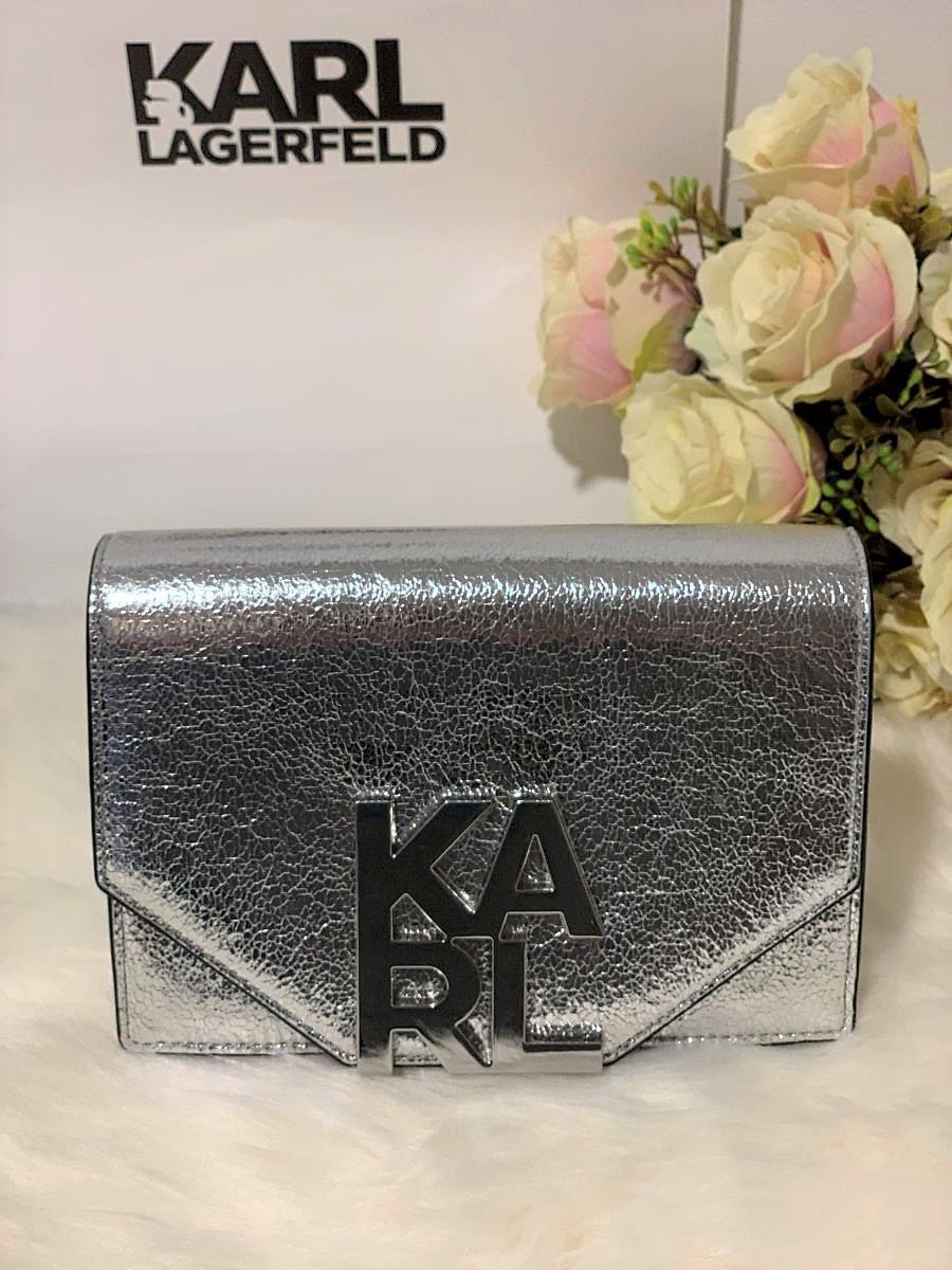 Dámska kabelka Karl Lagerfeld K/Karl Logo Crossbody Silver