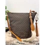 Dámska kabelka MICHAEL KORS Brooke Medium Zip Bucket Bag BROWN