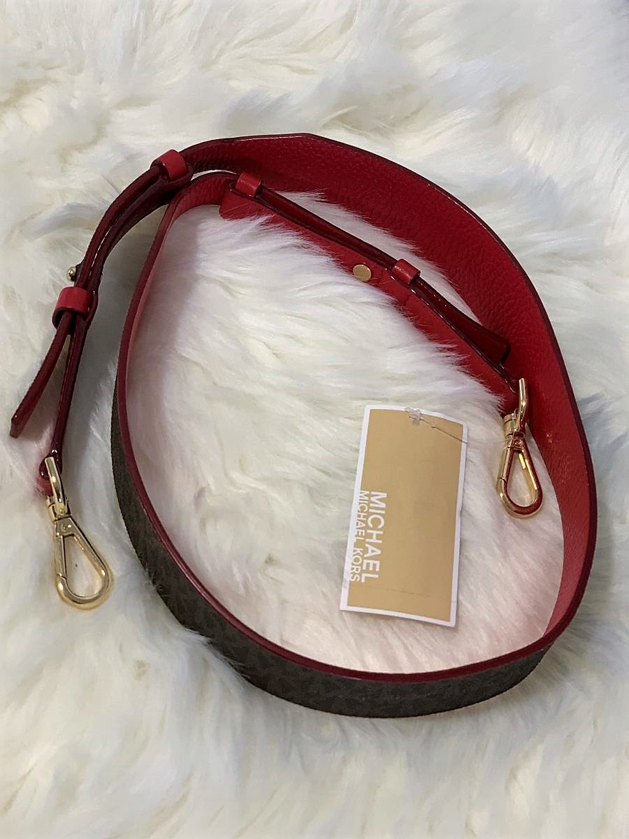 Popruh MICHAEL KORS Guitar Strap Leather Bright Red