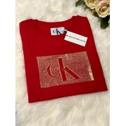 Dámske tričko CALVIN KLEIN JEANS Distrsed Logo Barbados Cherry