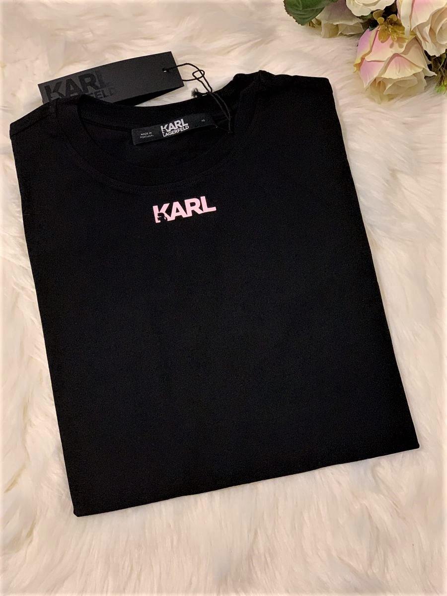 Dámske tričko KARL LAGERFELD Logo Frill Black