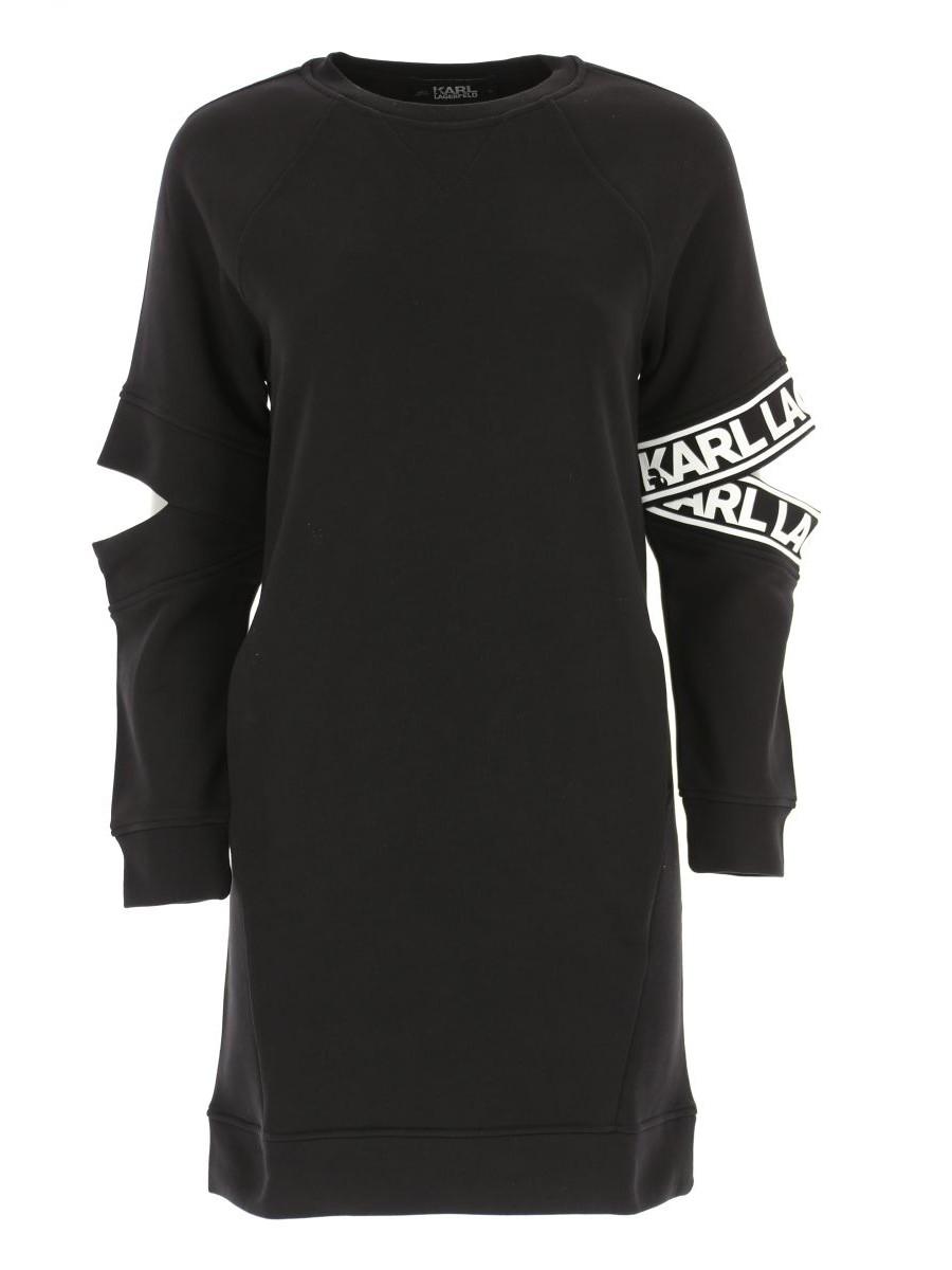 Dámske šaty KARL LAGERFELD Cut Out Sleeve Sweat Dress Black