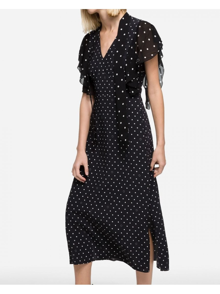 Dámske šaty KARL LAGERFELD K/Dots Maxi Dress Black/White