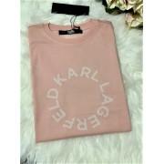Dámske tričko KARL LAGERFELD Circle Logo Rose Smoke