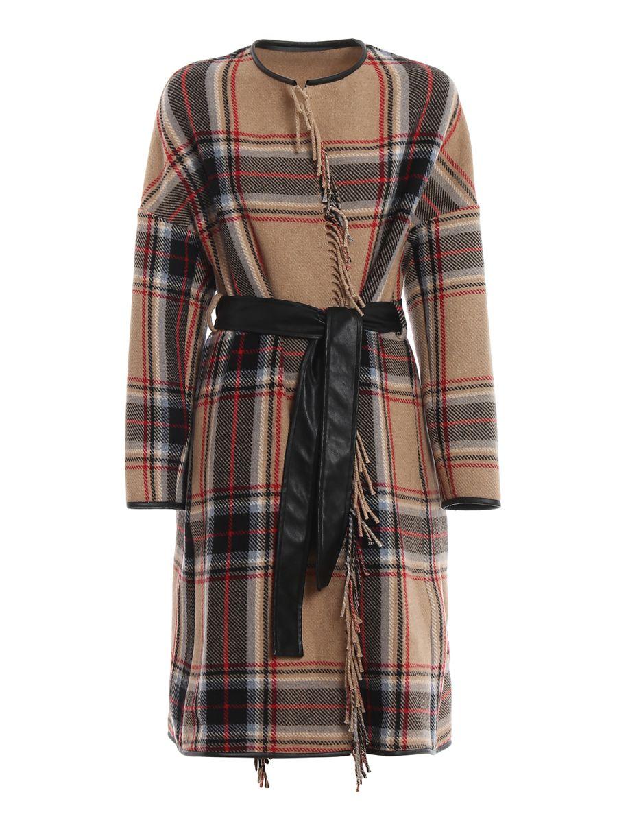 Dámsky kabát Pinko Riannodare Cappotto Multi Cammello Brown