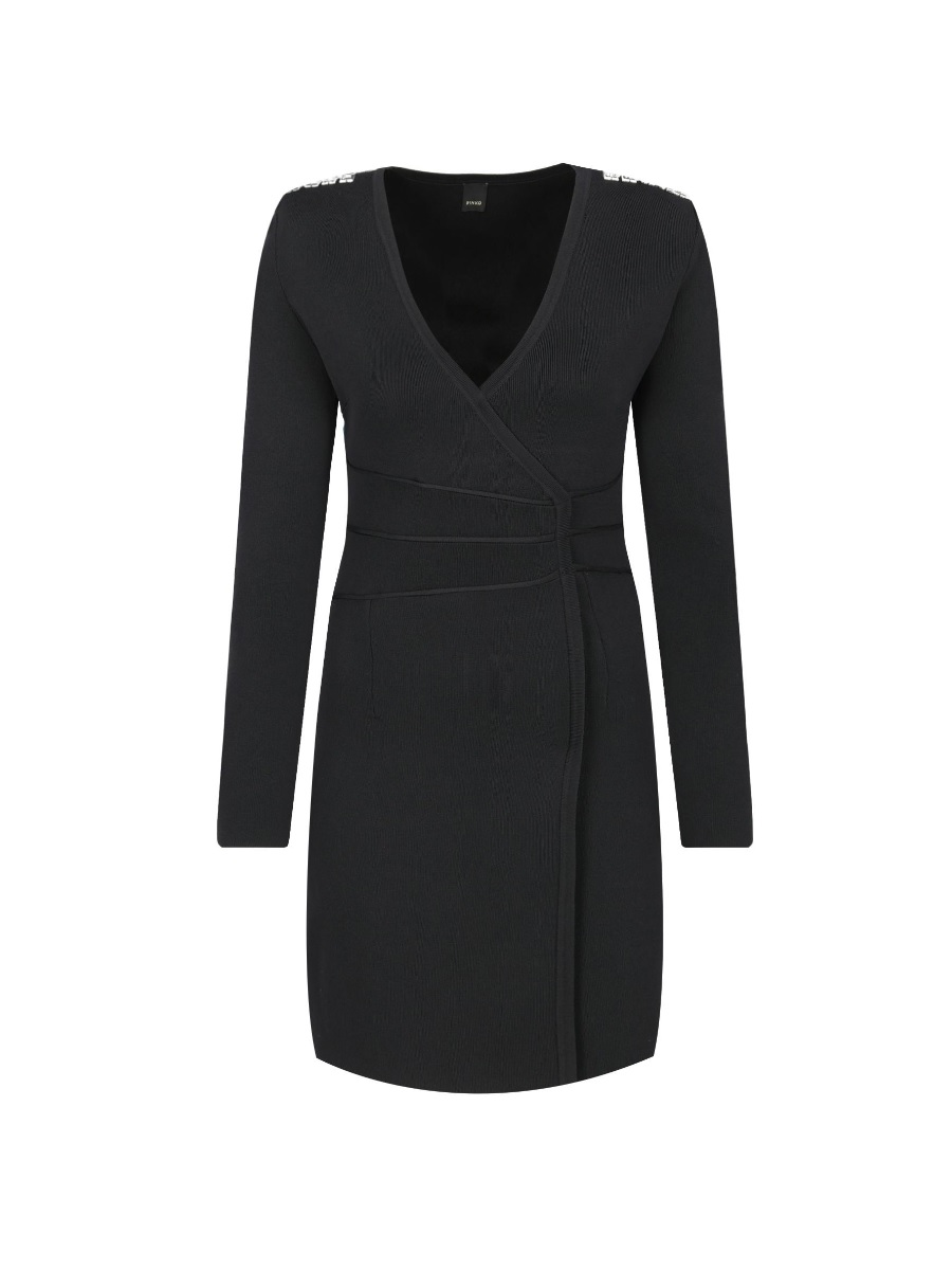 Dámske úpletové šaty Pinko Rumeno Abito Maglia Black Slim Fit
